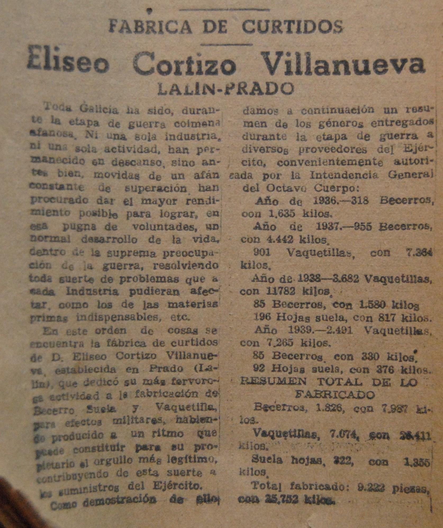 """Curtidos """"Eliseo Cortizo Villanueva"""""""