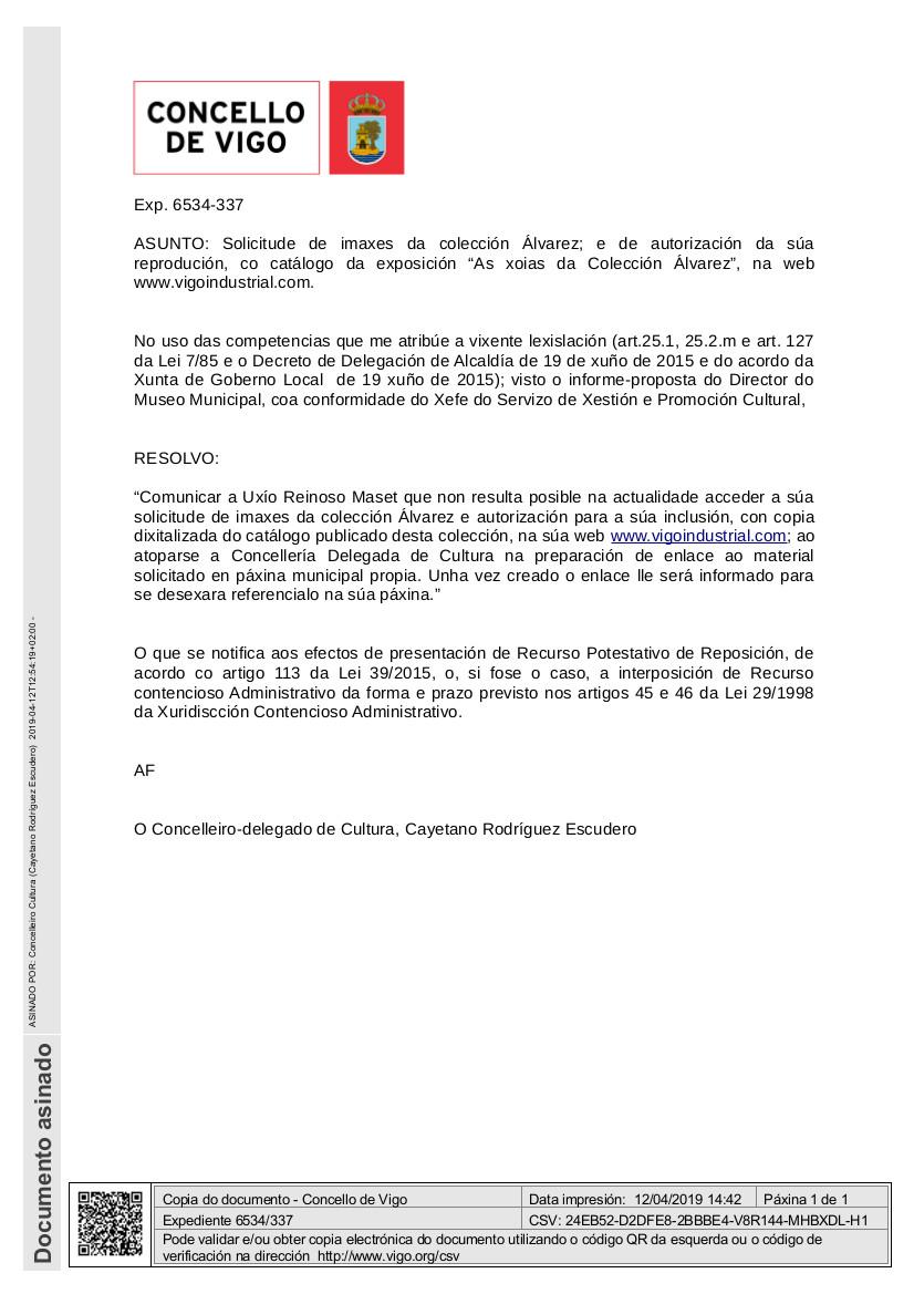 Resposta Colección Álvarez