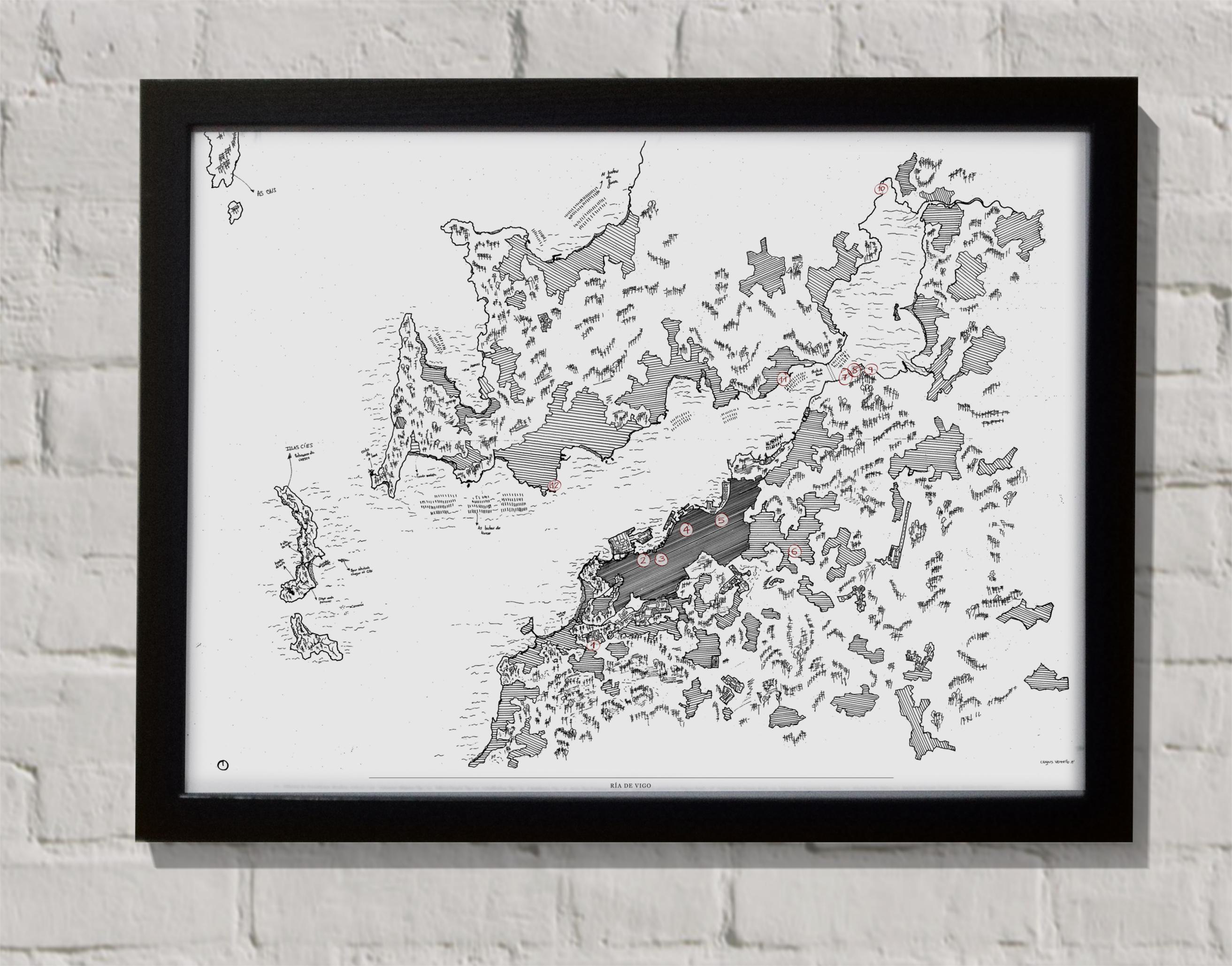 Mapa Ría de Vigo con marco