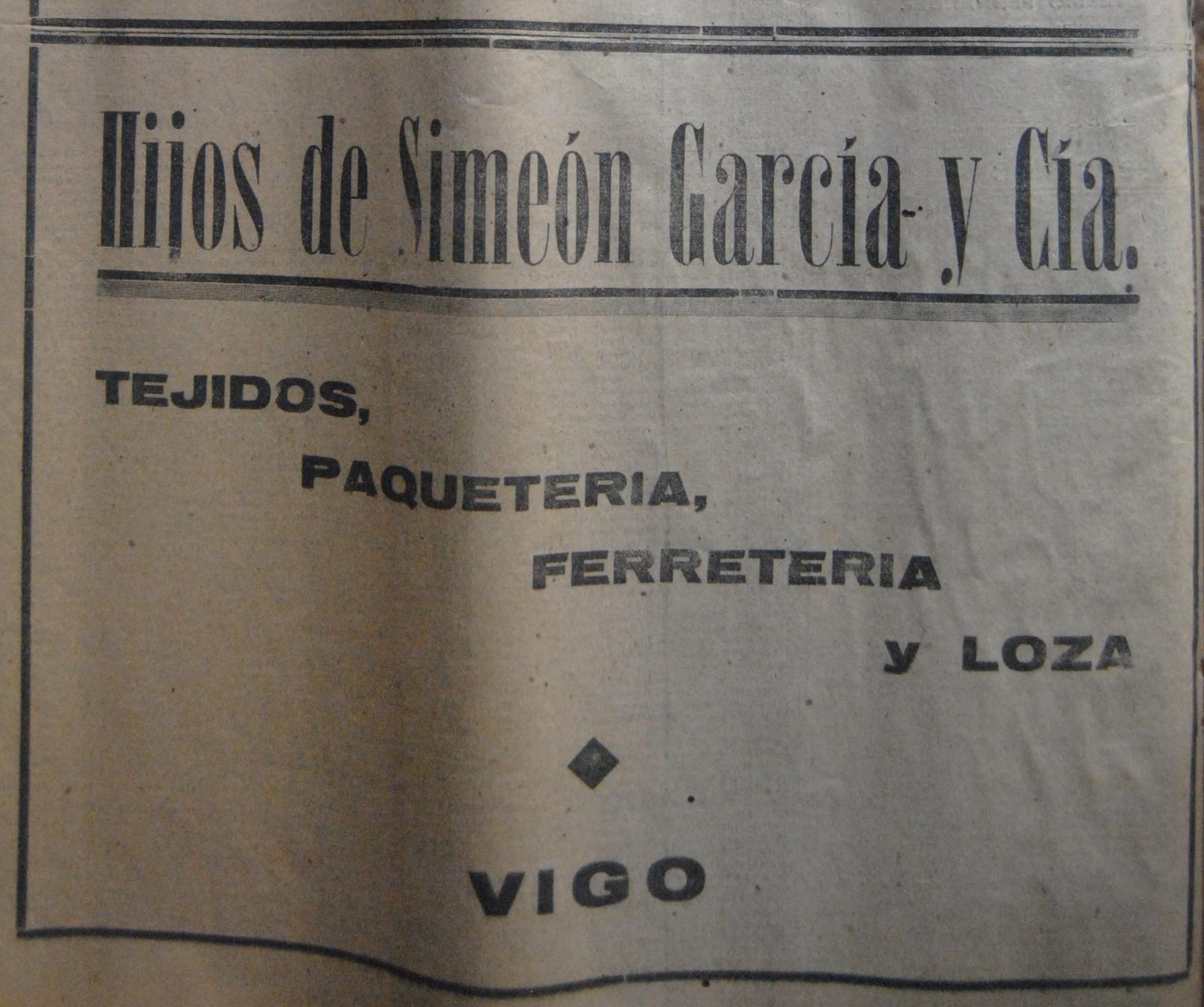 Hs. de Simeón Gª & Cía., comercio.