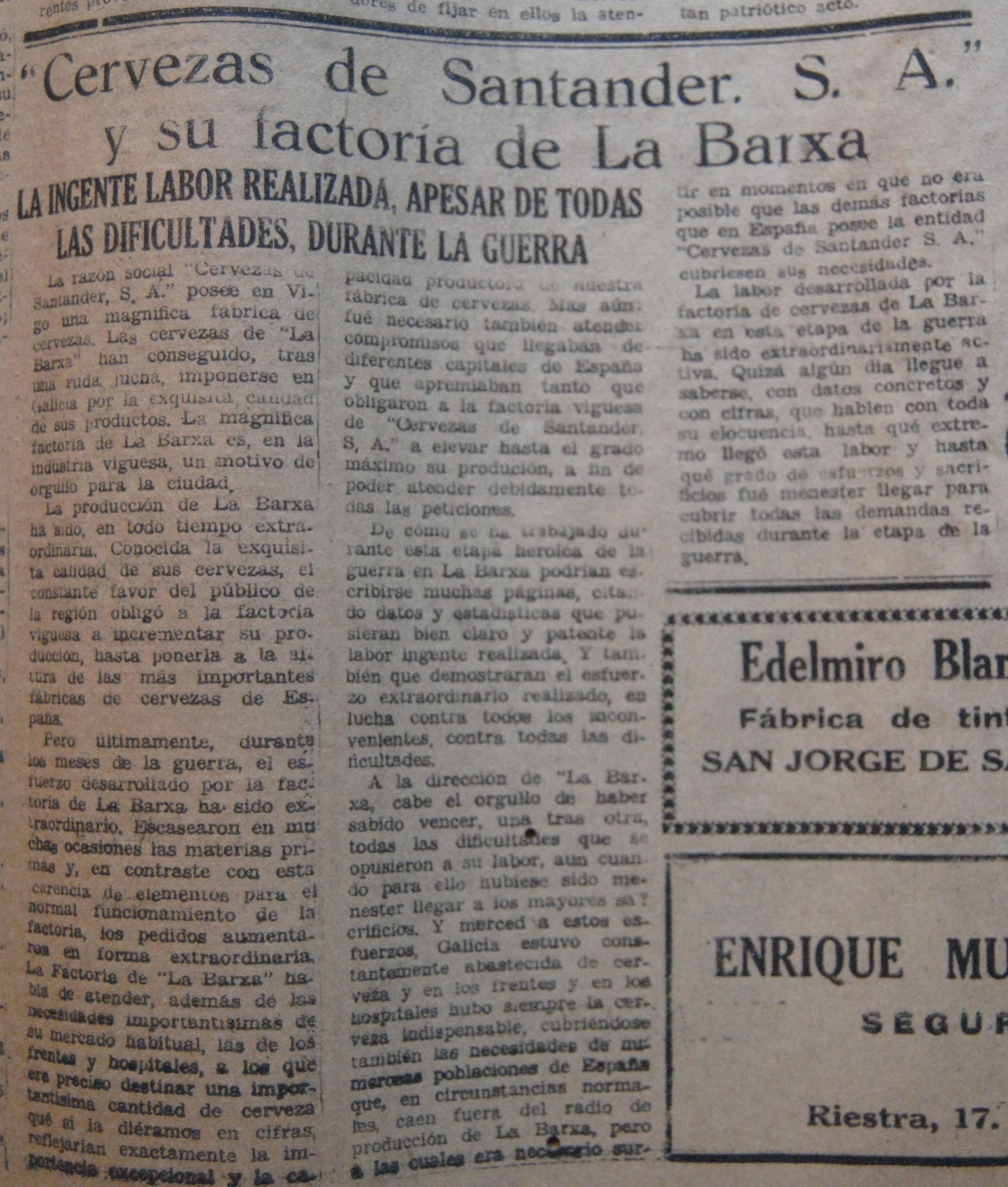 Cervezas de Santander- A Barxa