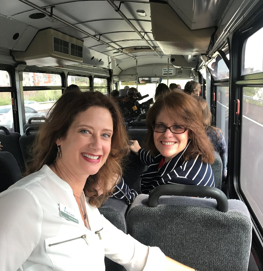 Sharon Winter and Donna Bayless of RightLane ride the THP bus.