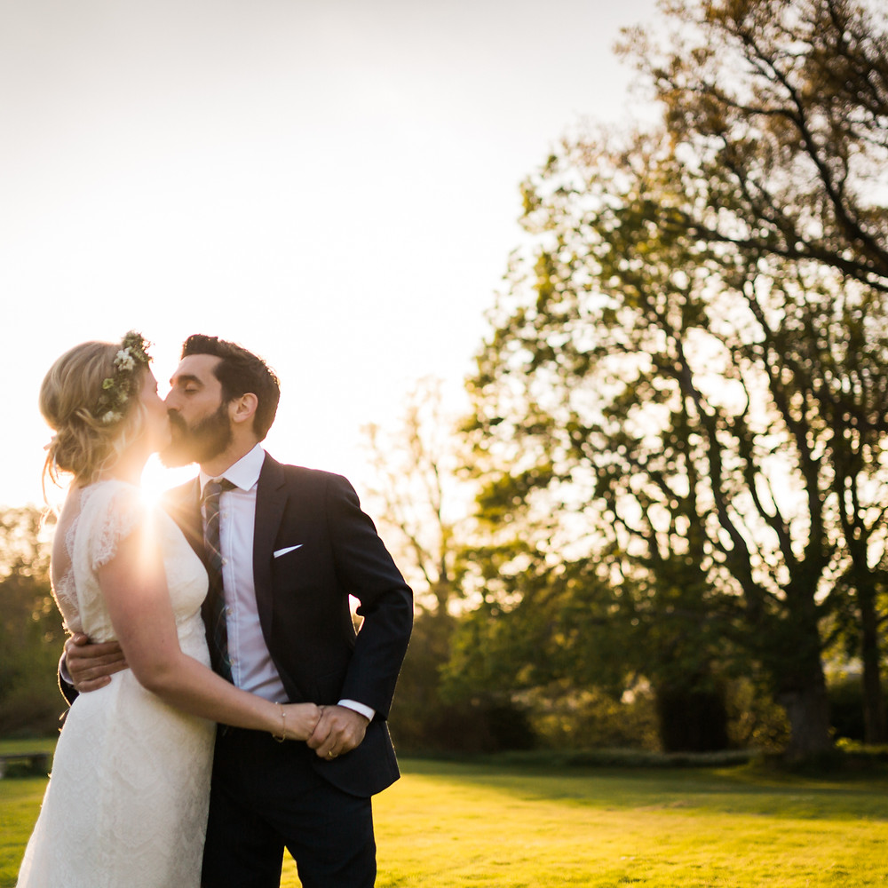 Couple kissing during their Colstoun Wedding in East Lothian photo property of Solen Photography
