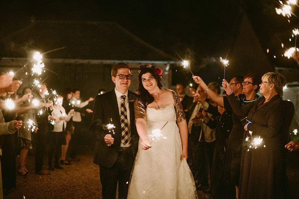 Barn wedding scotland, Sparklers and light happy couple. photo property of Claire Fleck