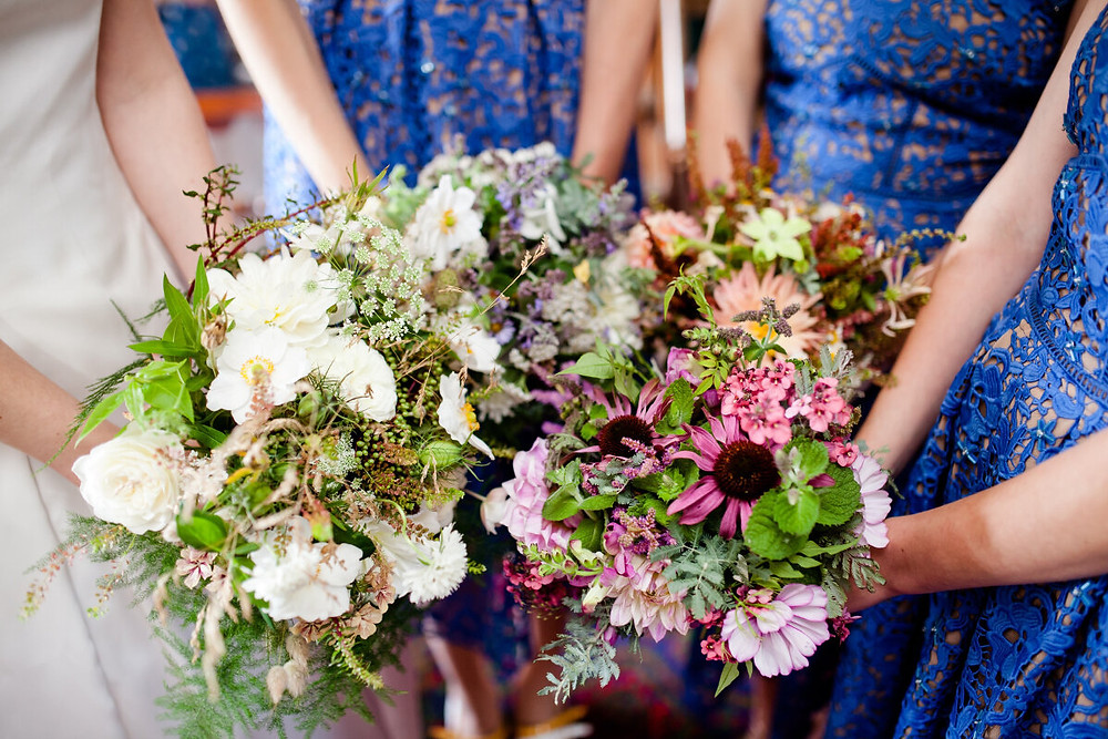 All the bouquets for a scottish rustic barn wedding at Colstoun East Lothian
