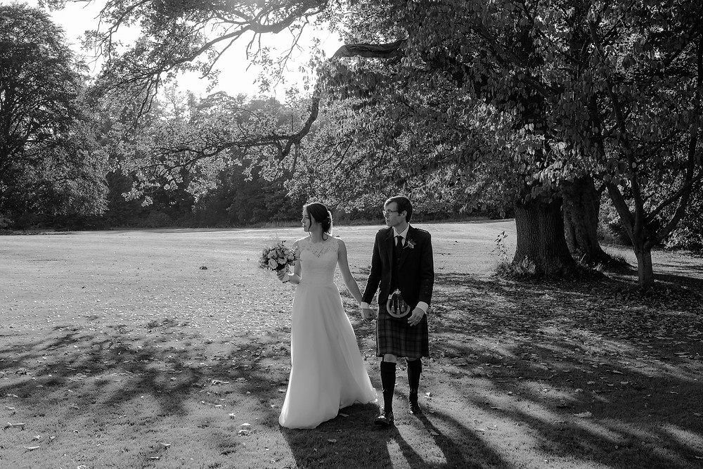 Scottish Wedding Couple on Lawn in East Lothian