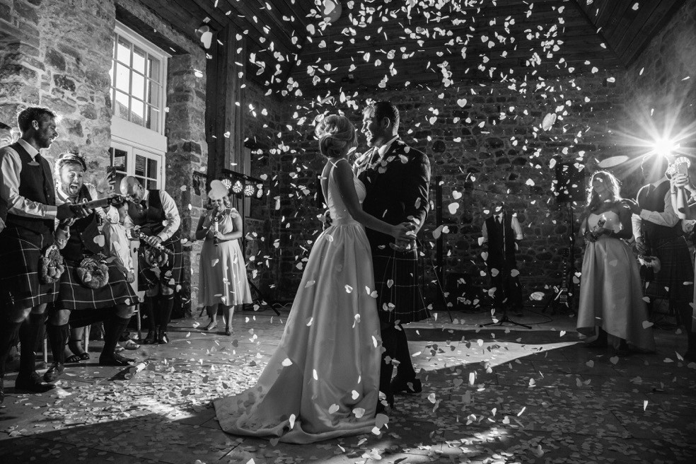 Black and White Photo of First Wedding Dance for Scottish Couple