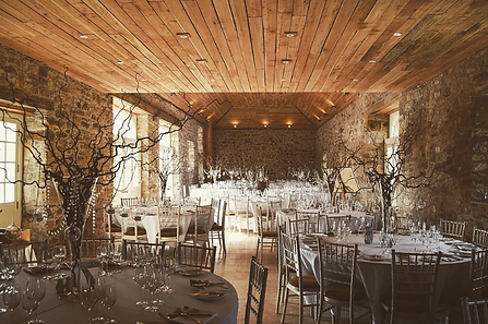 Scottish Barn Wedding Set Up For Reception In East Lothian