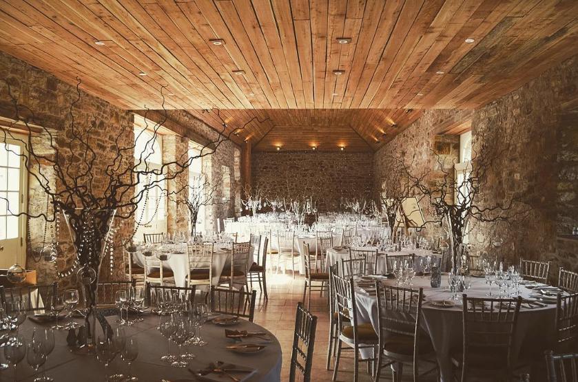 The Coach House at Colstoun set up for a wedding