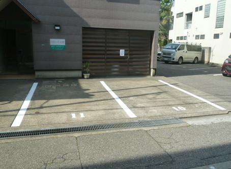 弊社裏に来客者用駐車場ライン引きました。