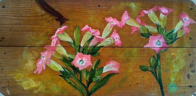 Dipinto su legno che veniva utilizzato per pressare il tabacco