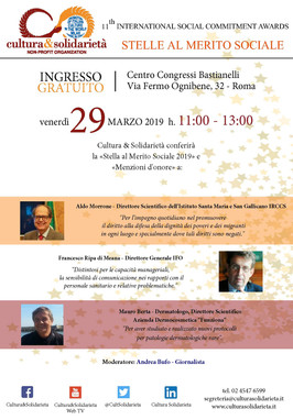"""""""Stelle al Merito Sociale"""" - Roma, 29 marzo 2019"""