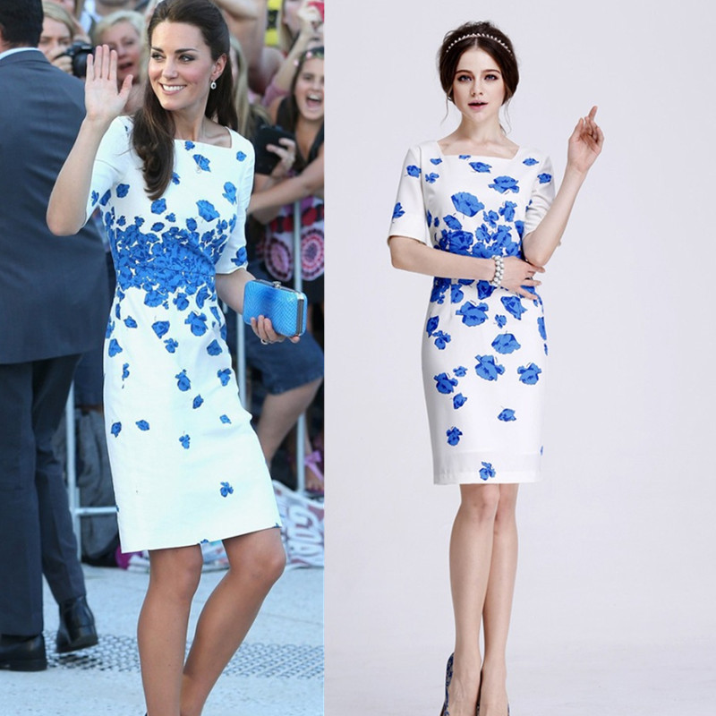 Princess-Kate-Middleton-Same-Style-Fashion-High-Quality-2014-Spring-Summer-Women-Blue-Print-Casual-Dresses