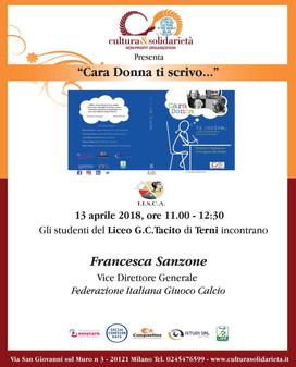 """""""Cara Donna ti scrivo…"""" arriva a Terni: presentazione il 13 aprile"""
