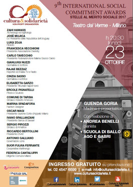 "23 OTTOBRE 2017, 9° EDIZIONE ""International Social Commitment Award"""