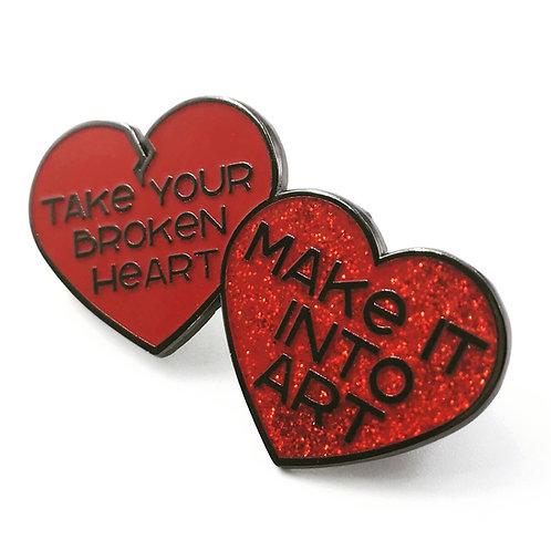 "Red ""Take your broken heart, make it into art"" hard enamel pin"