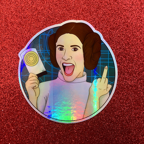 Leia One-Finger Salute Holographic Sticker