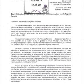 Lettre au Président de la Polynésie française sur la crise climatique