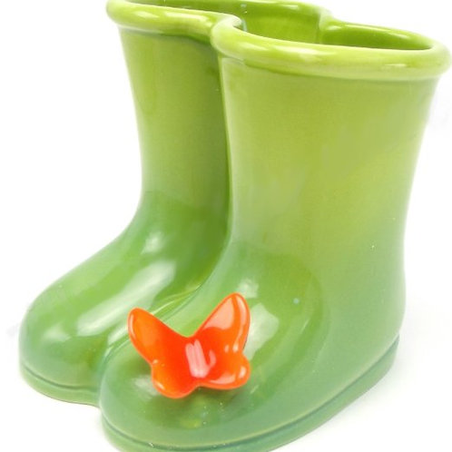 Petals Garden Boots with Butterfly Container Vase