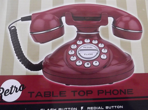 Red Retro Table Top Phone