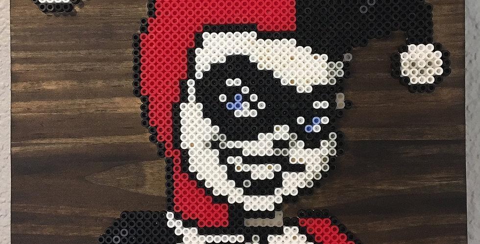 Harley Quinn Wood Mounted Pixel Art