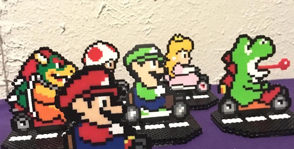 Pixelated Mario Kart Figures