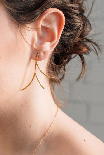 Golden Earrings, golden branch earrings, nature inspired earrings, golden wedding earrings