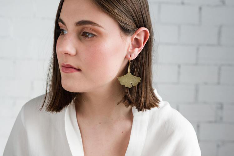 Large golden dangle earrings, Statement Ginkgo Leaf Dangle, Nature inspired