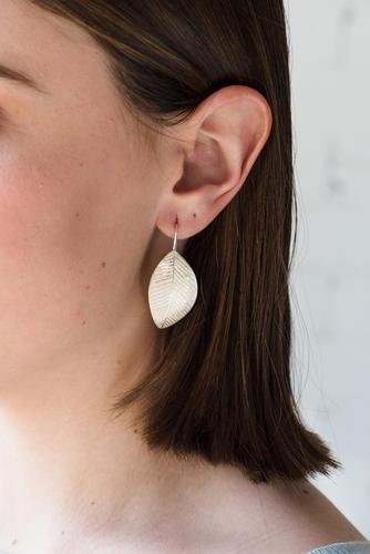 Large leaf dangle earrings, nature inspired earrings, silver dangle leaf, woodland jewelry