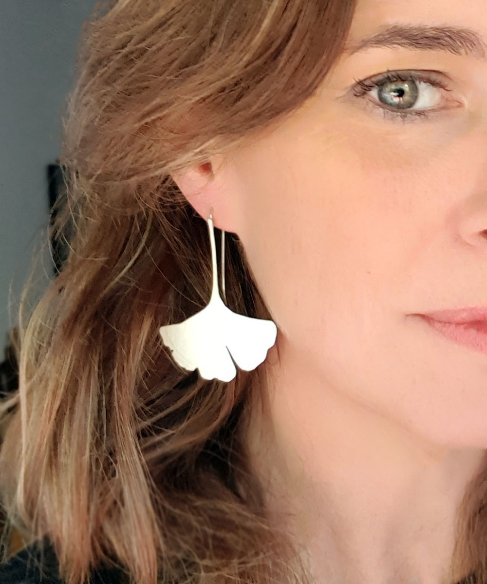 Large dangle Ginkgo earrings, Nature inspired dangle earrings, Statement silver leaf earrings, modern silver earrings,brushed silver dangle