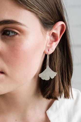 Long dangle Ginkgo earrings, Nature inspired dangle earrings