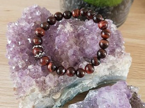 Red Tigers Eye crystal beaded bracelet ~ 8mm beads