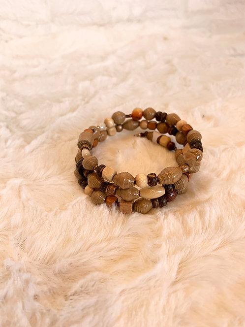 Bracelet de perles en papier recyclé