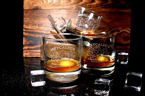 Metcalfe's Logo Etched Rocks Glass