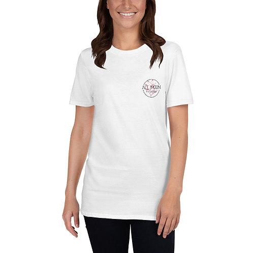 T-shirt blanc logo rose