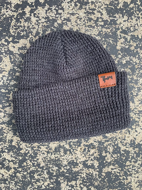 THW Fisherman Beanie w Leather Patch (Gray)