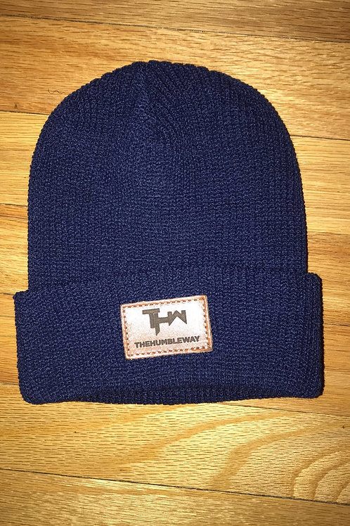 THW Navy Blue Leather Patch Beanie