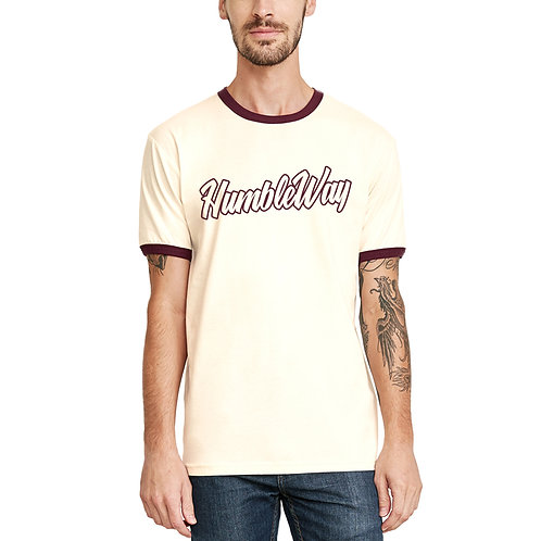 THW Natural Maroon Ringer Tee
