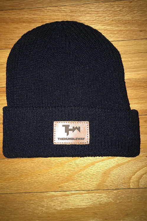 THW Black Leather Patch Beanie