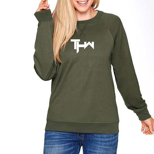 THW French Terry Raglan Crew (Olive Green)