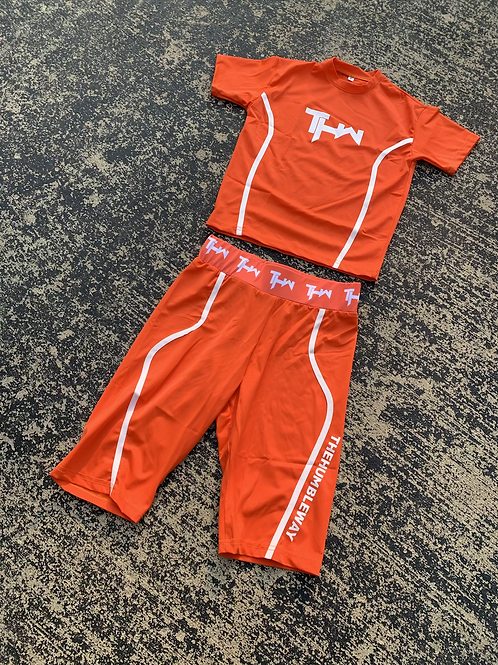 THW Crop Biker Short Set (Orange)