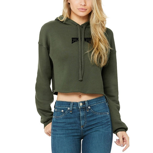 THW Cropped Fleece Hoodie Military Green