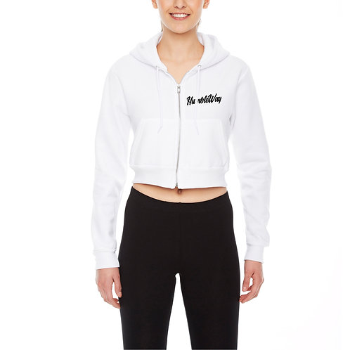 THW Chalk White Crop Fleece Hoodie