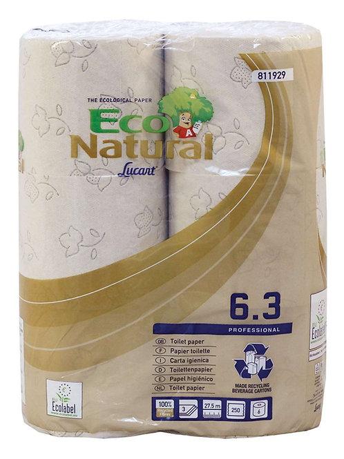 Lucart EcoNatural 250 Sheet 3 Ply Toilet Rolls 811929