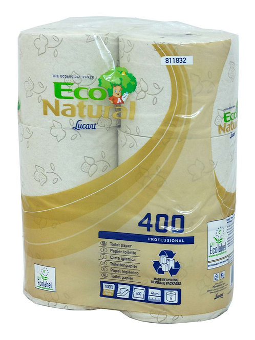 Lucart EcoNatural 2 Ply Toilet Rolls 811832 400 sheets per roll 811832