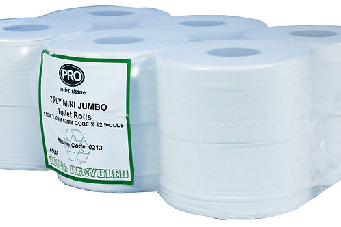 Mini Jumbo Toilet Rolls 150m 60mm core 2ply