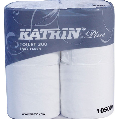 Katrin 105003 Plus Easy-Flush 300 sheet Toilet Rolls 2ply