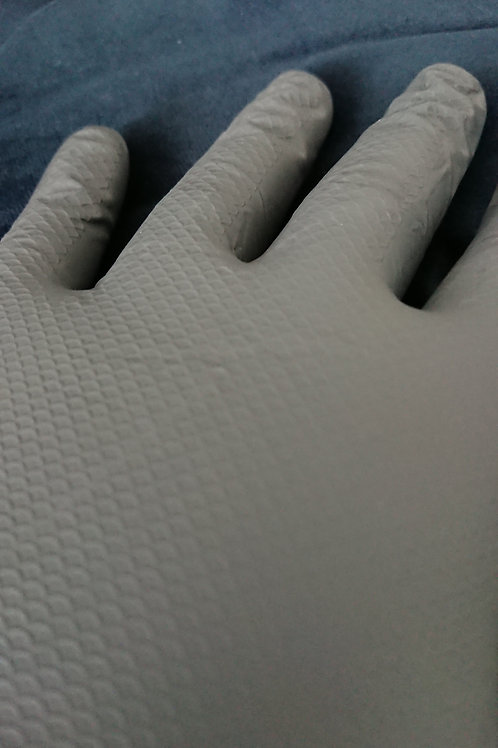 UltraGRIP+ Grey Nitrile Gloves - With all over traction grip