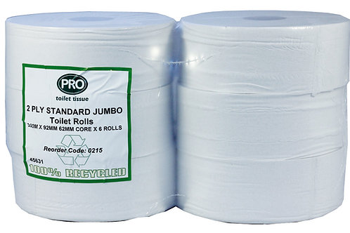 Standard Jumbo Toilet Rolls 300m 2 Ply White Recycled 60mm Core