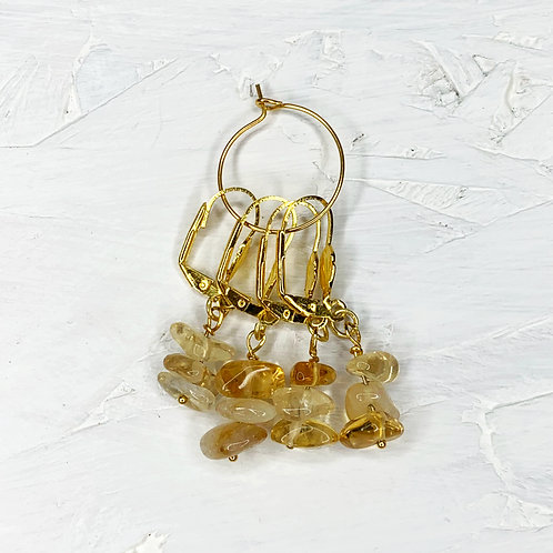 Citrine Crystal Stitch Markers